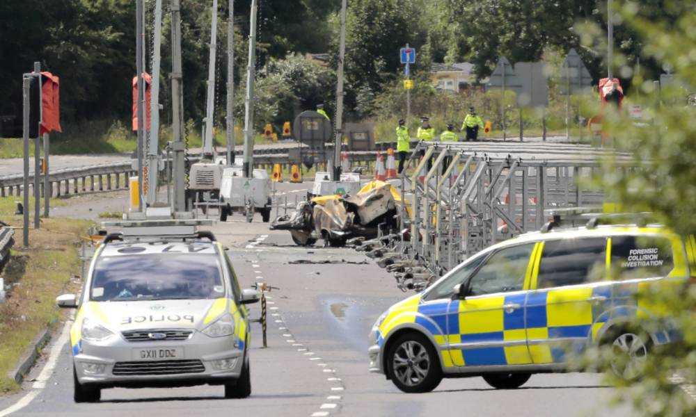Emergency services on the A27 at the site where seven people died when an historic Hawker Hunter fighter jet plummeted on to the major south coast road at Shoreham in West Sussex after failing to pull out of a loop manoeuvre. PRESS ASSOCIATION Photo. Picture date: Sunday August 23, 2015. More bodies may be found as investigators and emergency services continue to search the scene of the Shoreham Airshow plane crash, police said. See PA story AIR Crash. Photo credit should read: Daniel Leal-Olivas/PA Wire