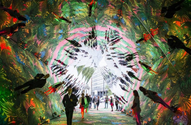 LONDON, UNITED KINGDOM - AUGUST 27: This handout image supplied by Spark Your City, people walk through the 'Spark Your City Urban Jungle' giant interactive kaleidoscope that has been installed between Waterloo station and London's Southbank on August 27, 2015 in London, England. (Photo by Chris Lee via Getty Images)