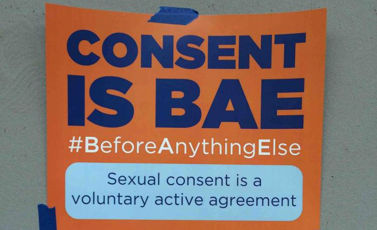 """Columbia University has launched a sexual consent awareness campaign. But the campaign poster reads """"Consent is BAE (Before Anything Else)"""". via Twitter"""