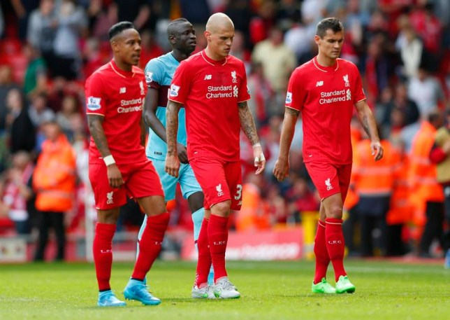 "Football - Liverpool v West Ham United - Barclays Premier League - Anfield - 29/8/15  Liverpool's Nathaniel Clyne, Martin Skrtel and Dejan Lovren look dejected at half time  Reuters / Eddie Keogh  Livepic  EDITORIAL USE ONLY. No use with unauthorized audio, video, data, fixture lists, club/league logos or ""live"" services. Online in-match use limited to 45 images, no video emulation. No use in betting, games or single club/league/player publications.  Please contact your account representative for further details."