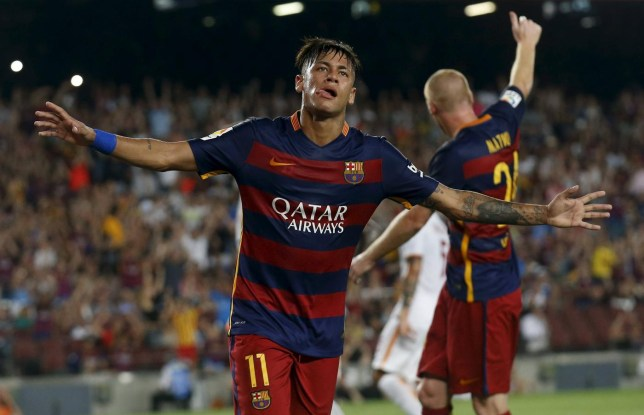 Barcelona's Neymar celebrates a goal against AS Roma during a friendly match at Camp Nou stadium in Barcelona Albert Gea/Reuters