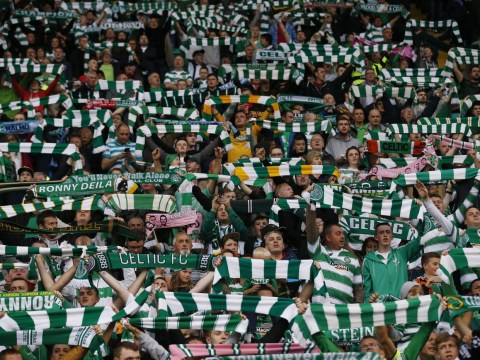 Celtic fans doing 'the huddle' celebration is absolutely incredible
