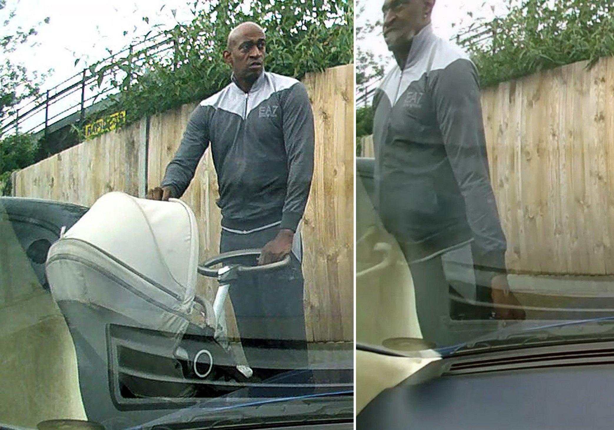 Dash-cam footage captures pram-pushing man keying Aston Martin