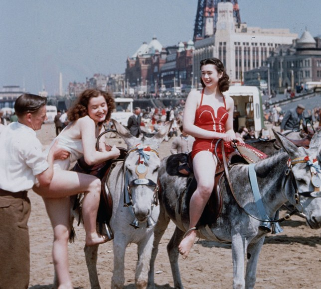 circa 1950: Holiday-makers riding donkeys on the beach at Blackpool. Blackpool Tower is in the background. Original Publication: Picture Post - 7227 - Blackpool - pub. 1954 (Photo by John Chillingworth/Picture Post/Getty Images)