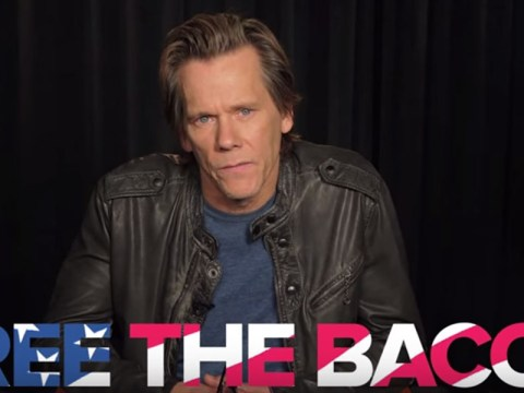 Kevin Bacon wants you to 'free the bacon' as he makes a tongue-in-cheek plea for more male nudity onscreen