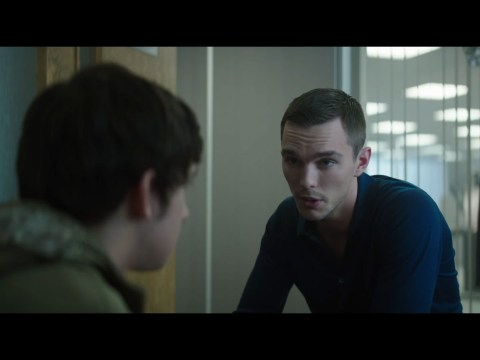 Nicholas Hoult does anything he can for the 'killer tune' in the first trailer for Kill Your Friends