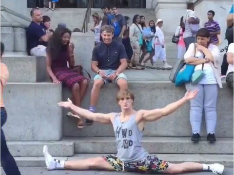 Logan Paul randomly drops into the splits all over New York. Because lols.