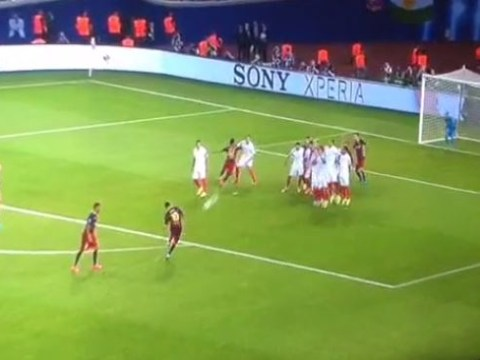 Lionel Messi scores two stunning free-kicks in nine minutes during Barcelona v Sevilla Super Cup