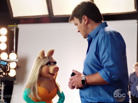 Newly single Miss Piggy sets her sights on Nathan Fillion's bum in Muppets trailer