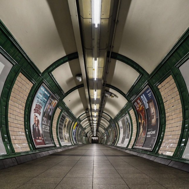 A series of london underground tube station without commuters.