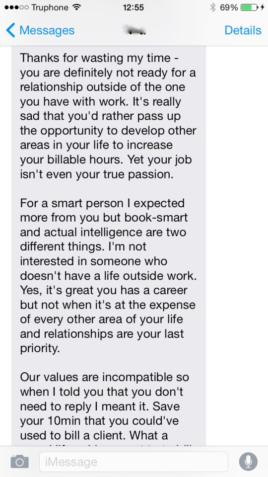 Tinder user loses her mind in text rant after being dropped