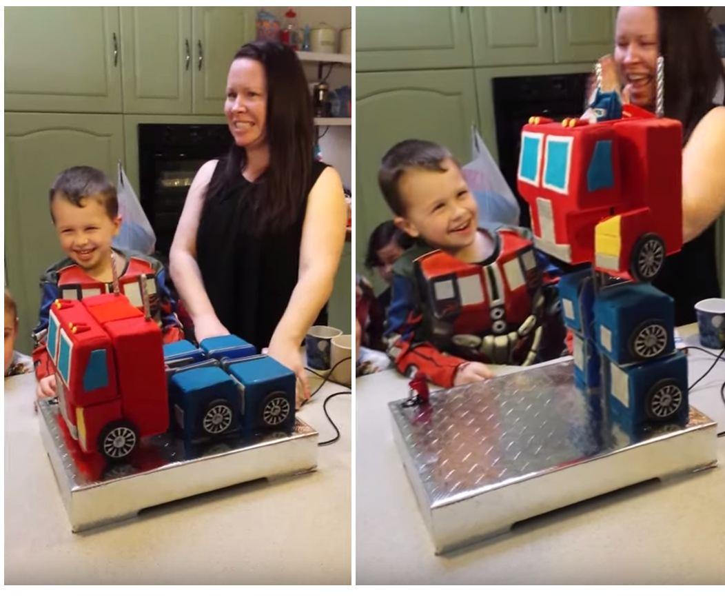 This Optimus Prime Transformer cake actually transforms. Mind blown.