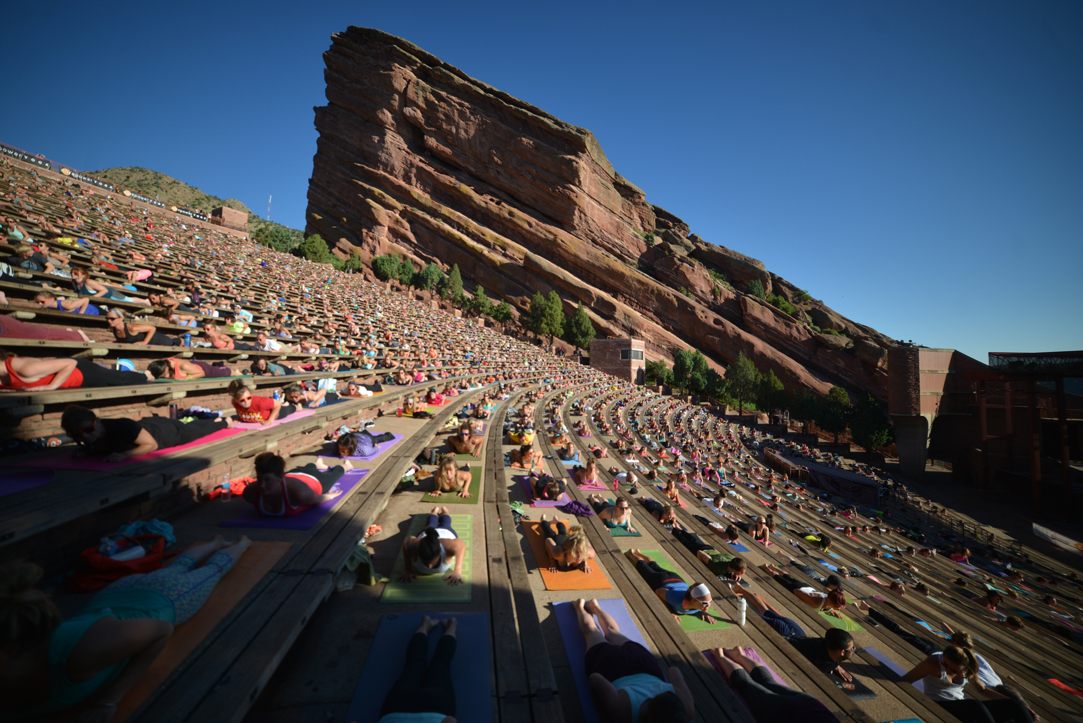 Hundreds of people practice yoga at Red Rocks (Picture: Evan Simon)
