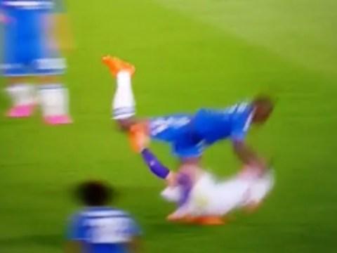 Chelsea star Kurt Zouma shows he doesn't do friendlies with bulldozer challenge on Ricardo Bagadur