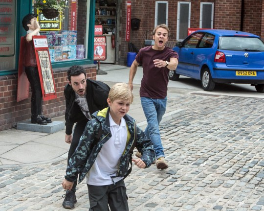 FROM ITV STRICT EMBARGO -TV Listings Magazines & websites Tuesday 8 September 2015, Newspapers Saturday 12 September 2015 Coronation Street - 8736 Wednesday 16 September 2015 When Callum Logan [SEAN WARD] slips into No.8 and starts hassling Kylie Platt [PAULA LANE], Gail McIntyre [HELEN WORTH] sees red and chases him out of the house. Spotting the commotion, David Platt [JACK P SHEPHERD] hurries over and tussles with Callum. Max Turner [HARRY McDERMOTT] screams at Callum that he hates him. Furious Callum makes a grab for Max, who runs into the path of Nick's car. Nick slams on the brakes, will he be able to avoid Max? Picture contact: david.crook@itv.com on 0161 952 6214 Photographer - Joseph Scanlon This photograph is (C) ITV Plc and can only be reproduced for editorial purposes directly in connection with the programme or event mentioned above, or ITV plc. Once made available by ITV plc Picture Desk, this photograph can be reproduced once only up until the transmission [TX] date and no reproduction fee will be charged. Any subsequent usage may incur a fee. This photograph must not be manipulated [excluding basic cropping] in a manner which alters the visual appearance of the person photographed deemed detrimental or inappropriate by ITV plc Picture Desk. This photograph must not be syndicated to any other company, publication or website, or permanently archived, without the express written permission of ITV Plc Picture Desk. Full Terms and conditions are available on the website www.itvpictures.com