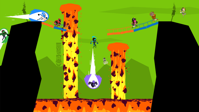 Runbow (Wii U) - up above the streets and houses...