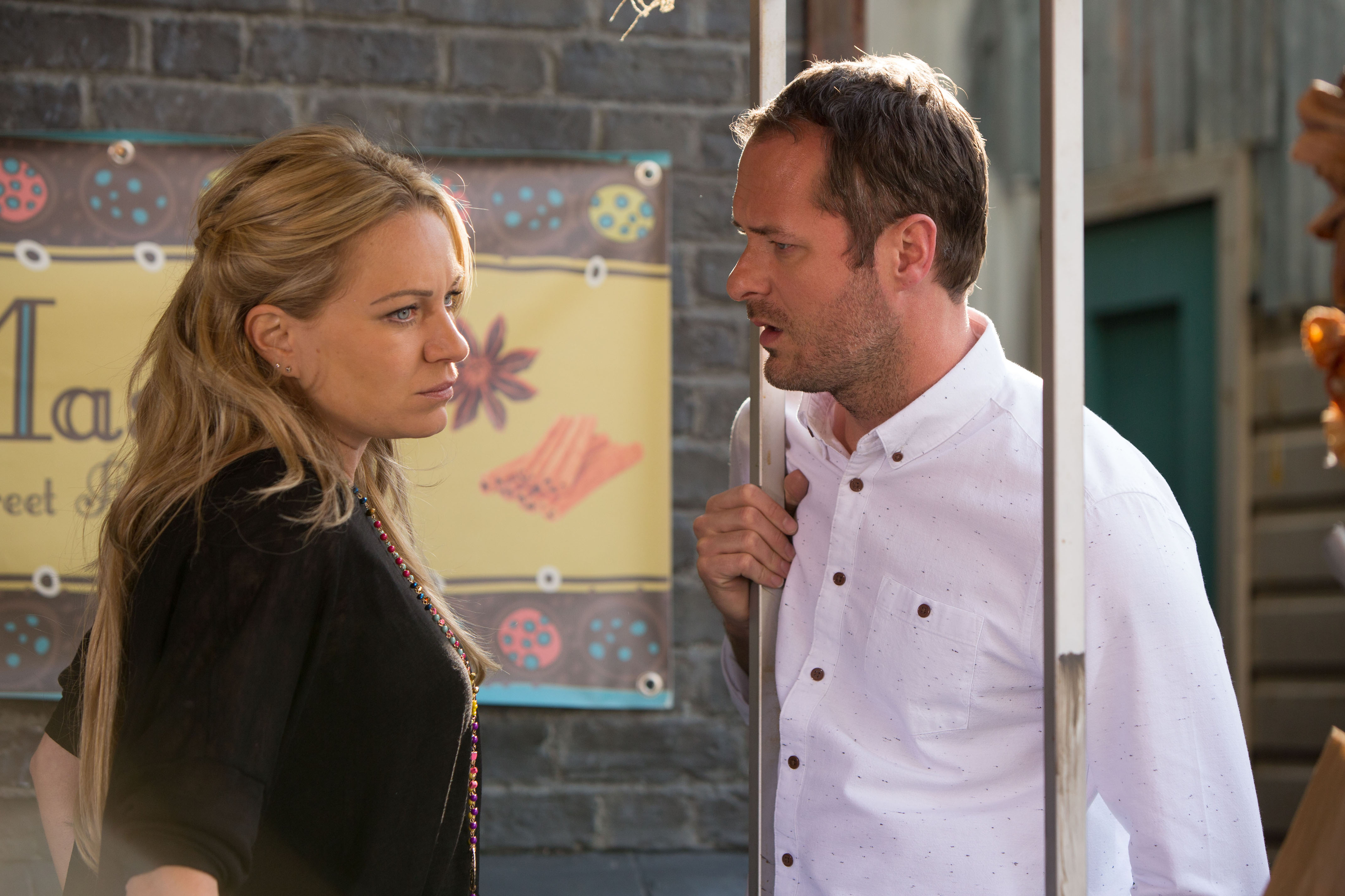 WARNING: Embargoed for publication until 08/09/2015 - Programme Name: EastEnders - TX: 17/09/2015 - Episode: 5139 (No. n/a) - Picture Shows: Roxy is stunned by Charlie's idea. Roxy Mitchell (RITA SIMONS), Charlie Cotton (DECLAN BENNETT) - (C) BBC - Photographer: Jack Barnes