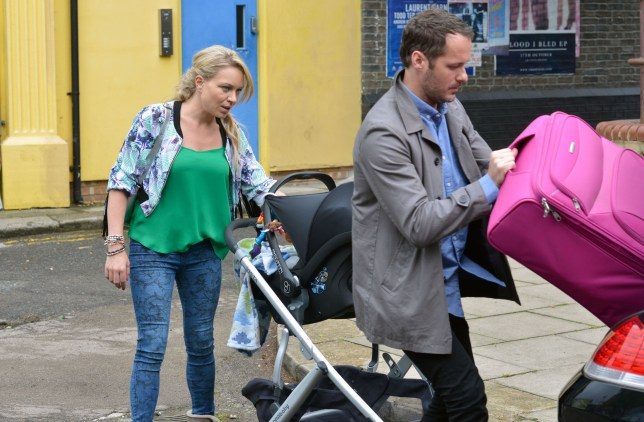 Roxy arrives to meet Charlie with her suitcase and Matthew. Roxy Mitchell (RITA SIMONS), Charlie Cotton (DECLAN BENNETT) - (C) BBC - Photographer: Kieron McCarron