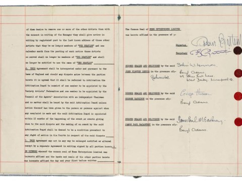 The Beatles' original management contract is set to go under the hammer – and could fetch £500,000