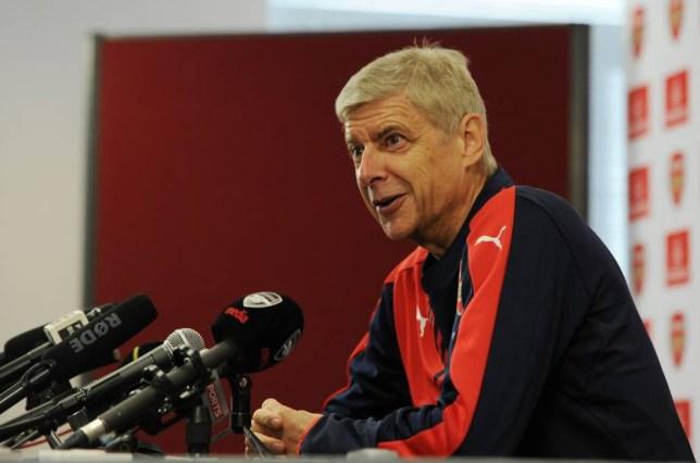 ST ALBANS, ENGLAND - SEPTEMBER 10:  Arsenal Manager Arsene Wenger attends a press conference at London Colney on September 10, 2015 in St Albans, England.  (Photo by Stuart MacFarlane/Arsenal FC via Getty Images)