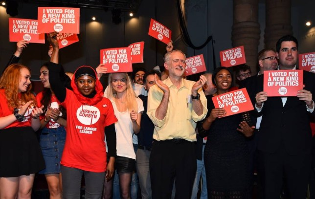 British Labour Party Leadership contender Jeremy Corbyn (C) poses for pictures with supporters after addressing a rally at the Rock Tower in north London on September 10, 2015. Voting closed in the leadership contest for Britain's main opposition Labour party on Thursday after a campaign dominated by the shock popularity of radical left candidate Jeremy Corbyn, who looks set to win. AFP PHOTO / BEN STANSALLBEN STANSALL/AFP/Getty Images