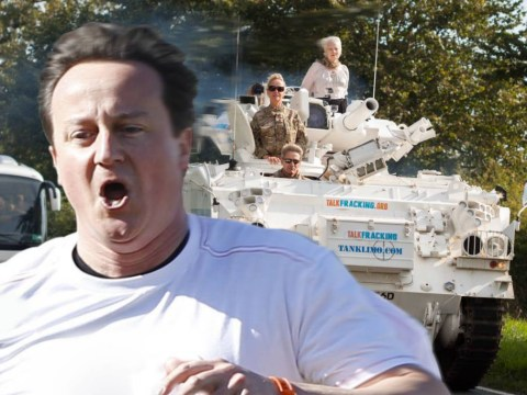 Vivienne Westwood just drove a huge frickin' tank to David Cameron's home