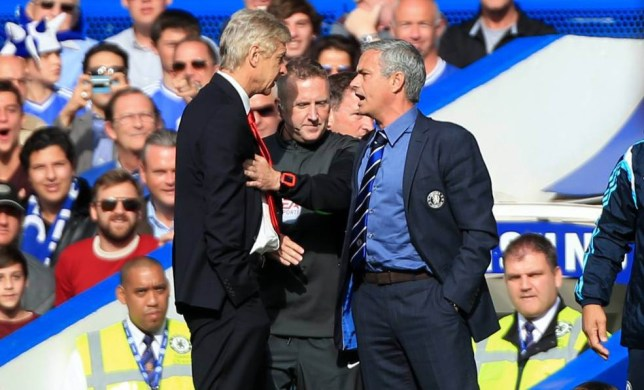 File photo dated 05-10-2014 of Chelsea manager Jose Mourinho (right) has a heated exchange with Arsenal manager Arsene Wenger (left) on the touchline during the Barclays Premier League match at Stamford Bridge, London. PRESS ASSOCIATION Photo. Issue date: Friday September 18, 2015. Arsenal manager Arsene Wenger has no interest in reopening a war of words with Chelsea boss Jose Mourinho ahead of Saturday's Barclays Premier League clash at Stamford Bridge. See PA story SOCCER Arsenal. Photo credit should read Nick Potts/PA Wire.