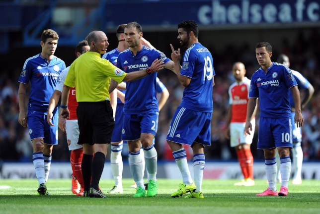 Diego Costa of Chelsea with Referee Michael Dean after the Gabriel Paulista of Arsenal sending off CHELSEA V ARSENAL BARCLAYS PREMIER LEAGUE 19/09/2015