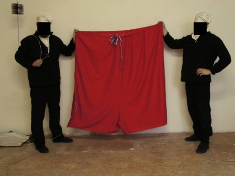Activists hung a huge pair of pants over Prague Castle