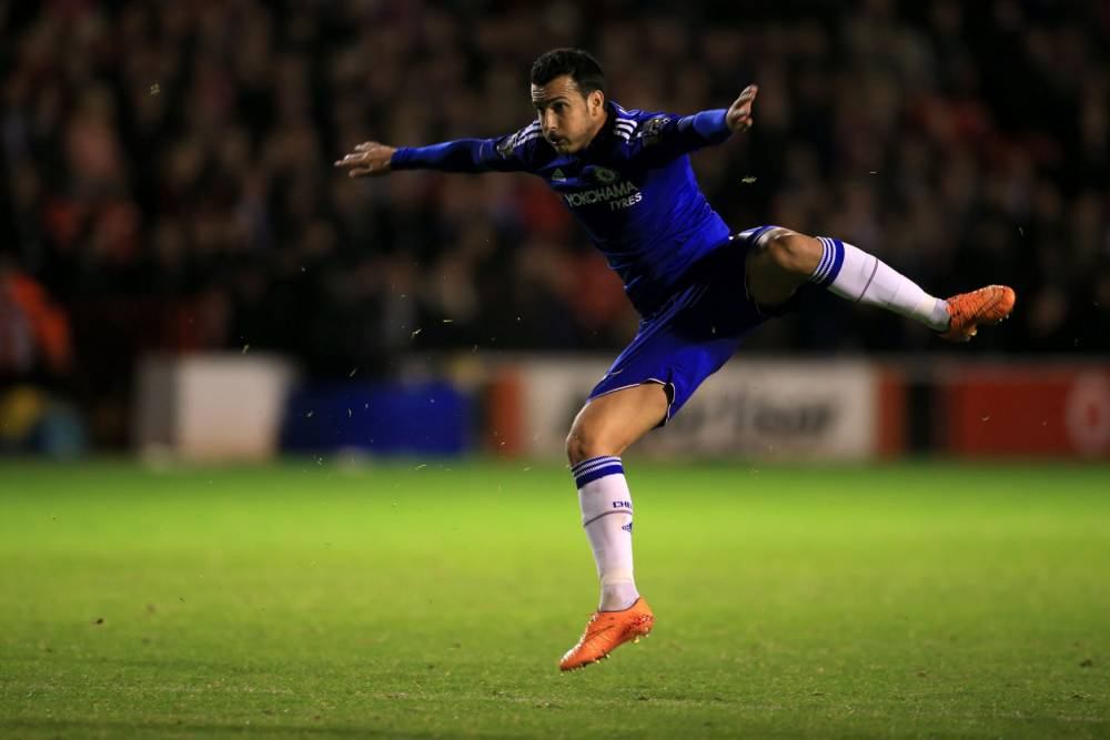 "Chelsea's Pedro scores their fourth goal of the game during the Capital One Cup, third round match at Banks' Stadium, Walsall. PRESS ASSOCIATION Photo. Picture date: Wednesday September 23, 2015. See PA story SOCCER Walsall. Photo credit should read: Nick Potts/PA Wire. RESTRICTIONS: EDITORIAL USE ONLY No use with unauthorised audio, video, data, fixture lists, club/league logos or ""live"" services. Online in-match use limited to 45 images, no video emulation. No use in betting, games or single club/league/player publications."