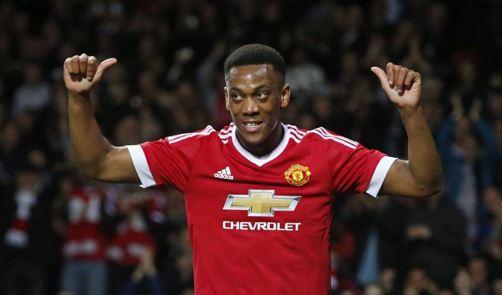 """Football - Manchester United v Ipswich Town - Capital One Cup Third Round - Old Trafford - 23/9/15 Anthony Martial celebrates after scoring the third goal for Manchester United Reuters / Andrew Yates Livepic EDITORIAL USE ONLY. No use with unauthorized audio, video, data, fixture lists, club/league logos or """"live"""" services. Online in-match use limited to 45 images, no video emulation. No use in betting, games or single club/league/player publications. Please contact your account representative for further details."""