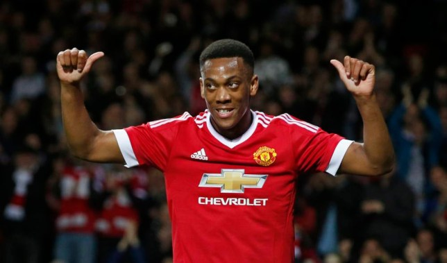 "Football - Manchester United v Ipswich Town - Capital One Cup Third Round - Old Trafford - 23/9/15 Anthony Martial celebrates after scoring the third goal for Manchester United Reuters / Andrew Yates Livepic EDITORIAL USE ONLY. No use with unauthorized audio, video, data, fixture lists, club/league logos or ""live"" services. Online in-match use limited to 45 images, no video emulation. No use in betting, games or single club/league/player publications. Please contact your account representative for further details."