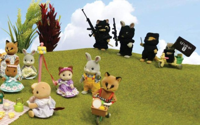 Artwork showing Sylvanian Families terrorised by Isis banned from free speech exhibition Picture: Mimsy