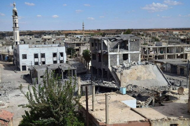 A picture taken on September 30, 2015 shows a general view of deserted streets and damaged buildings in the central Syrian town of Talbisseh in the Homs province. Russia confirmed on Septemer 30 that it carried out its first airstrike in Syria, near the city of Homs, marking the formal start of Moscow's military intervention in the 4.5-year-old conflict. AFP PHOTO / MAHMOUD TAHAMAHMOUD TAHA/AFP/Getty Images