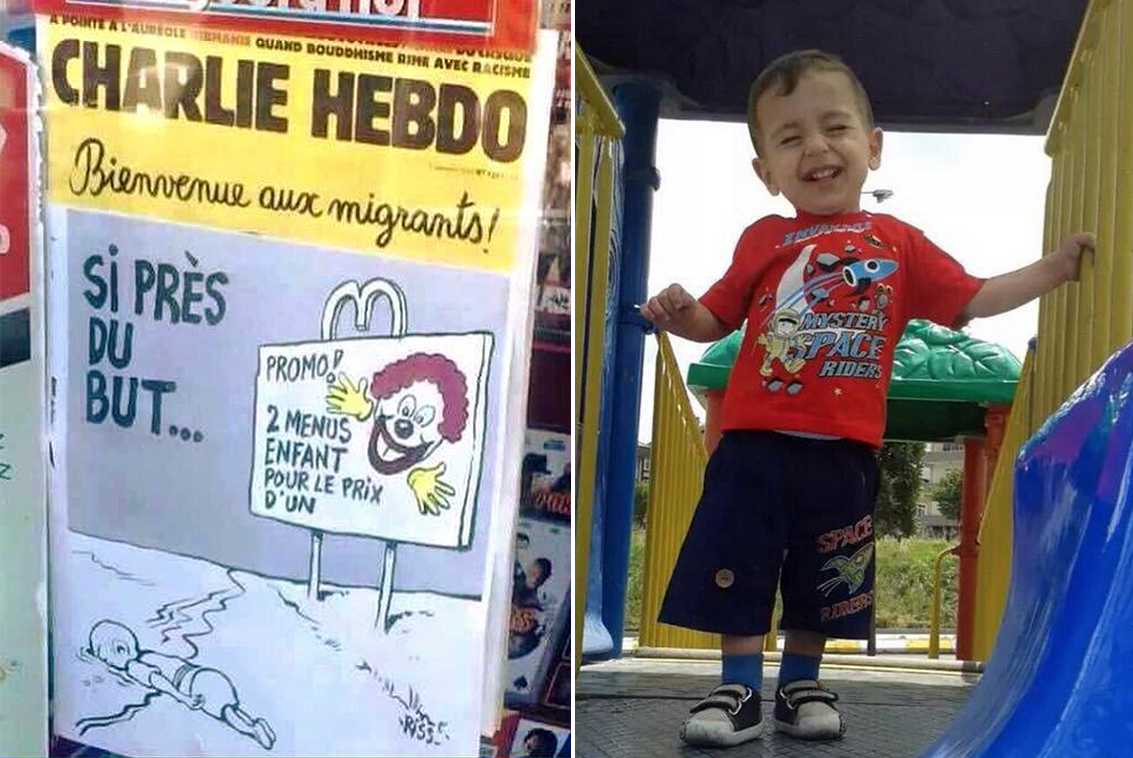 Aylan Kurdi and the front page of Charlie Hebdo (Picture: Charlie Hebdo/AFP/Getty Images)