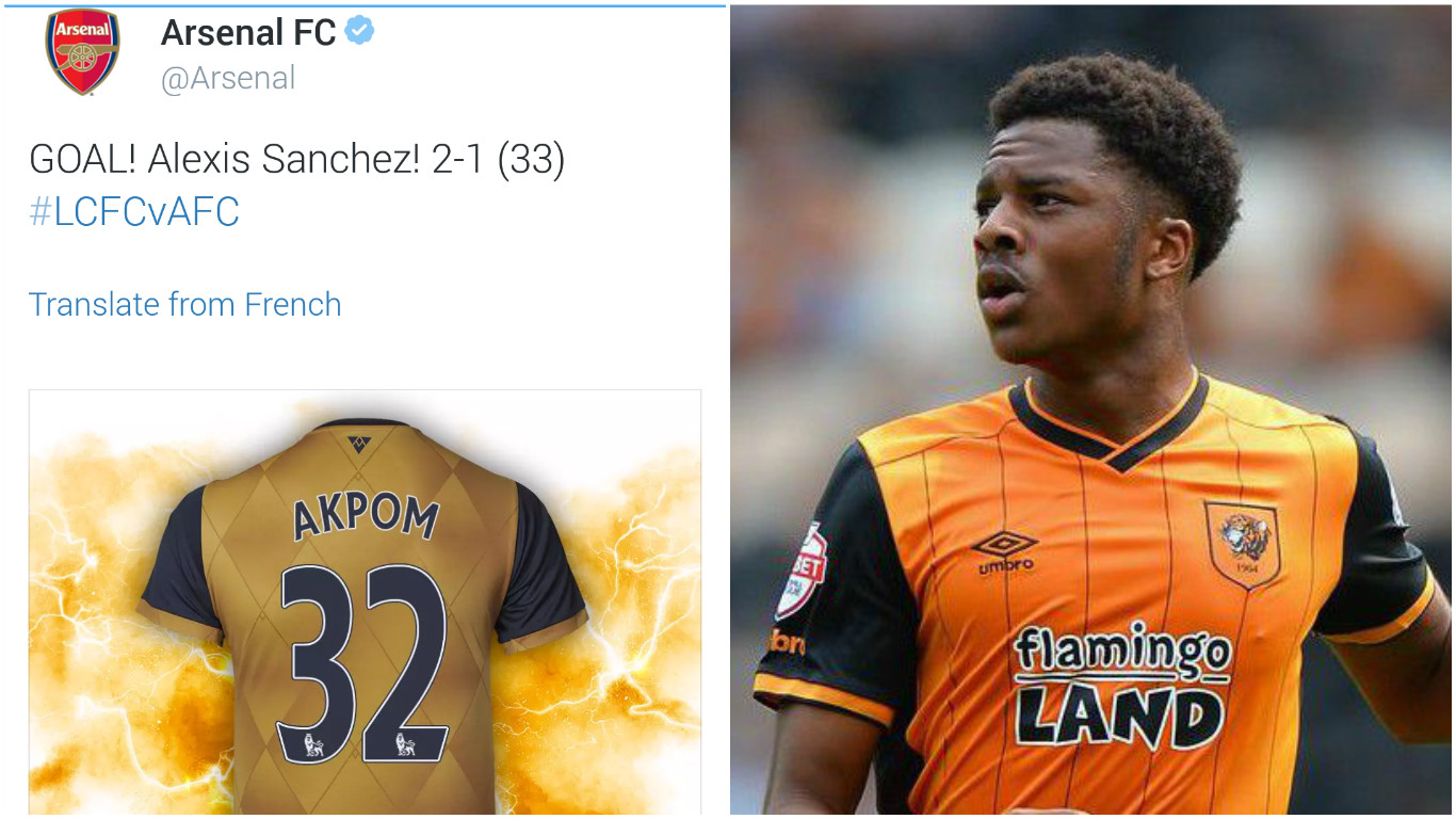 Arsenal's Twitter say Chuba Akpom scored v Leicester, he's actually on loan at Hull