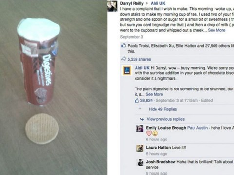 Man makes epic complaint to Aldi about his chocolate digestive, gets equally brilliant response