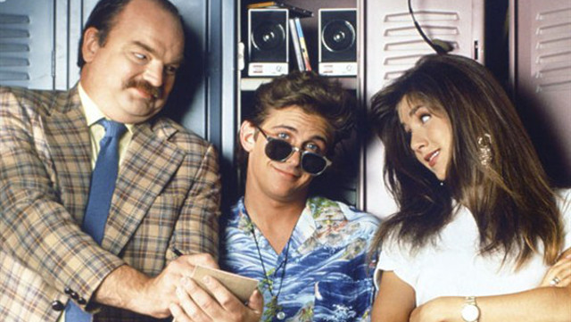 The ill-fated Ferris Bueller TV show, with, from left, Richard Riehle as Mr Rooney, Charlie Schlatter as Ferris and Jennifer Aniston as Jeannie (Picture: NBC)