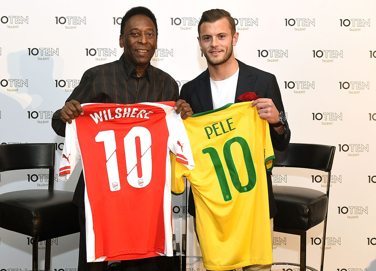 LONDON, ENGLAND - APRIL 23: Founding clients of 10Ten Talent Pele (R) and Jack Wilshere (L) pose for photographs during the Launch of 10Ten Talent on April 23, 2015 in London, England. (Photo by Tom Dulat/Getty Images for 10Ten Talent)