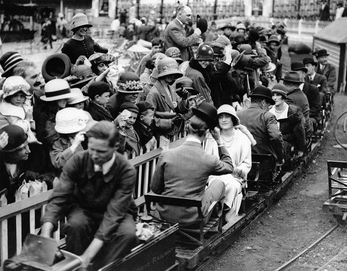 People on mini train