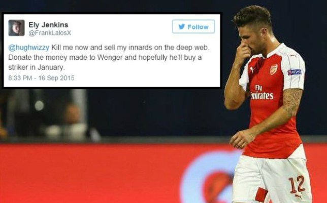 81436494f Arsenal news  Fan offers to sell own innards to fund new striker ...