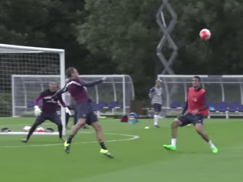 Phil Jagielka warms up for England vs Switzerland game with stunning acrobatic effort