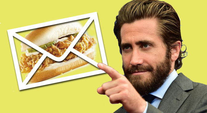 Jake Gyllenhaal once sent a letter of complaint to KFC for discontinuing his favourite dish