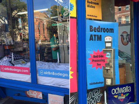 'Ridiculous' Airbnb room is a shop window in a convenience store