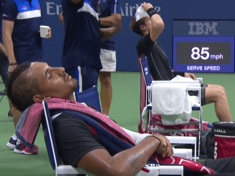 Nick Kyrgios falls asleep in chair during US Open loss to Andy Murray