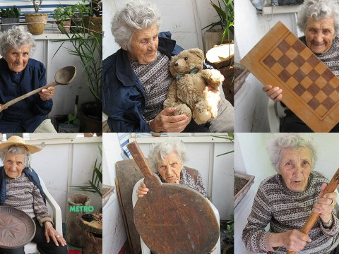 This eBay seller uses his 94-year-old aunt to model all his listings and she's a total star