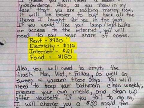 Mum gets own back on 13-year-old 'independent' child with brilliant letter