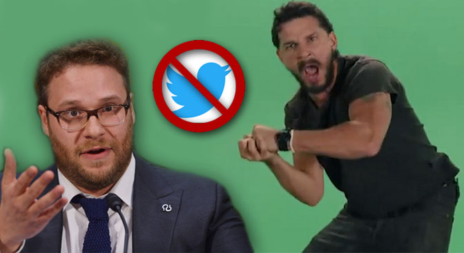 Seth Rogen is pretty upset Shia LaBeouf has blocked him on Twitter
