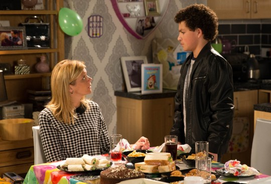 FROM ITV STRICT EMBARGO - No Use Before Tuesday 3 November 2015 Coronation Street - Ep 8771 Wednesday 11 November 2015 Leanne Tilsley [JANE DANSON] and Eva Price [CATHERINE TYLDESLEY] prepare a special tea to welcome Simon Barlow [ALEX BAIN] home from his holiday with Peter. Over tea with Ken Barlow [WILLIAM ROACHE] and Eva he paints on a smile but as soon as they leave, he drops the façade and slams into his room. Leanne fights back tears of despair. Picture contact: david.crook@itv.com on 0161 952 6214 Photographer - Joseph Scanlon This photograph is (C) ITV Plc and can only be reproduced for editorial purposes directly in connection with the programme or event mentioned above, or ITV plc. Once made available by ITV plc Picture Desk, this photograph can be reproduced once only up until the transmission [TX] date and no reproduction fee will be charged. Any subsequent usage may incur a fee. This photograph must not be manipulated [excluding basic cropping] in a manner which alters the visual appearance of the person photographed deemed detrimental or inappropriate by ITV plc Picture Desk. This photograph must not be syndicated to any other company, publication or website, or permanently archived, without the express written permission of ITV Plc Picture Desk. Full Terms and conditions are available on the website www.itvpictures.com