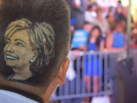 A 70-year-old woman had a portrait of Hillary Clinton shaved into her hair